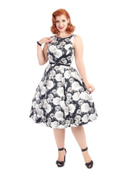 Vintage Hepburn Dress in Monochrome