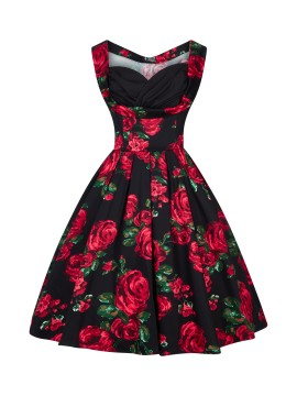 Vintage Madison Dress in Red Rose