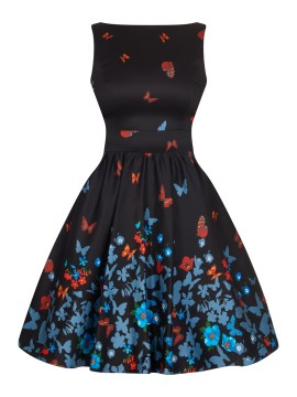 Vintage Tea Dress in Black Butterfly