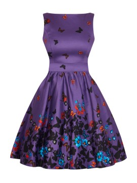 Vintage Tea Dress in Purple Butterfly