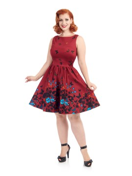 Vintage Tea Dress in Red Butterfly