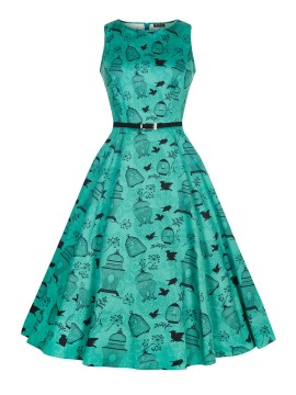Vintage Hepburn Dress In Teal Birdcage