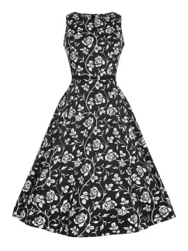 Vintage Hepburn Dress In Black and White Floral