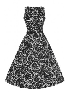 Vintage Hepburn Dress In Black Lace Print