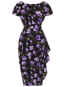 Vintage Elsie Dress in Purple Tulip