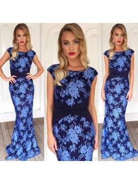 Floral Lace Evening Dress