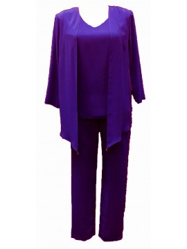 Inspirations Ladies Plus Size Special Occasion 3 Piece Set in Violet