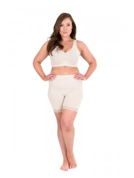 Plus Size Anti Chafing Shorts Lace Trim in Nude