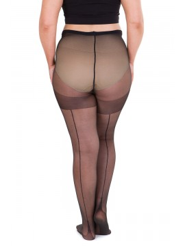 Plus Size Sheer 40 Denier Back Seam Full Tights in Black