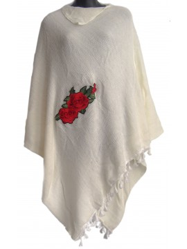 Rose Knit Poncho in Cream