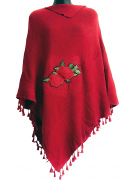 Rose Knit Poncho in Red