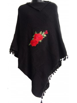 Rose Knit Poncho in Black