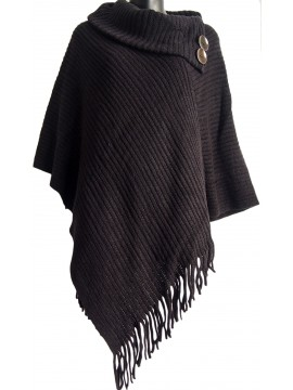Thick Button Top  Knitted Poncho