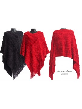 Thick Stripe  Knitted Poncho