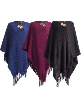 Button Top Knitted Poncho
