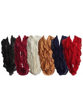 Knitted Ruffle Snood Scarf