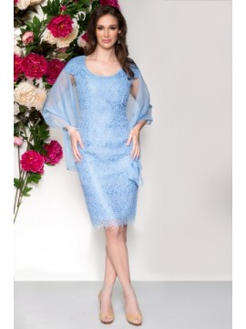 BJC Special Occasion Lace Dress in Sky Blue