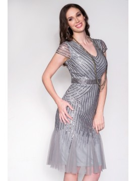 BJC Beaded Silver Dress