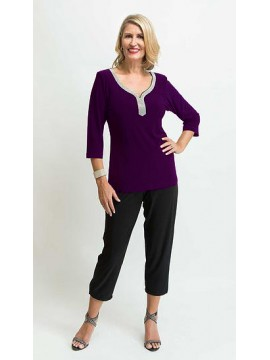 Jaki K Jersey Bling Sleeve Top in Purple