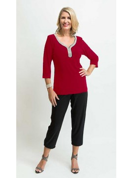 Jaki K Jersey Bling Sleeve Top in Red