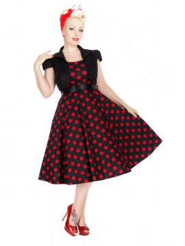 Vintage Style Black with Large Red Polka Dot Dress with Cap Sleeve Jacket