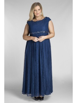 Alyce Lace Evening Dress with Beading in Peacock Blue