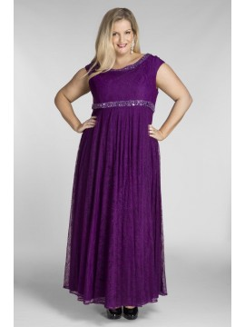 Alyce Lace Evening Dress with Beading in Violet