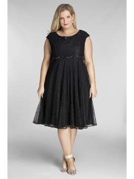 Amy Lace Dress with Beading in Black