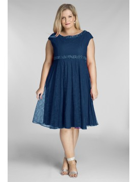 Amy Lace Dress with Beading in Peacock Blue