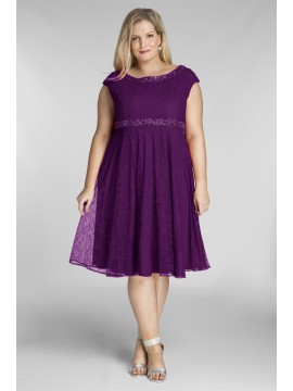 Amy Lace Dress with Beading in Violet