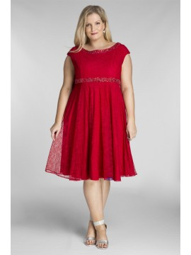 Amy Lace Dress with Beading in Crimson Red