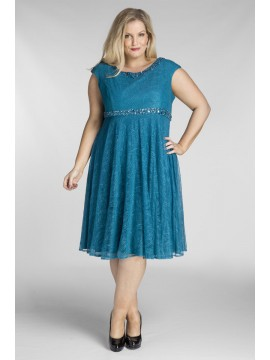 Amy Lace Dress with Beading in Teal