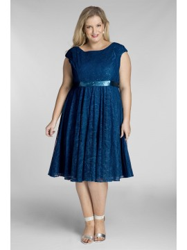 Amy Lace Dress in Peacock Blue