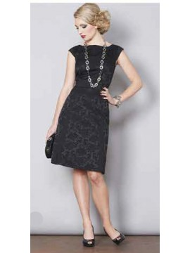 Black Embossed Classic Style Dress