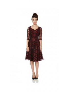 Vintage Style Black and Red Lace Dress