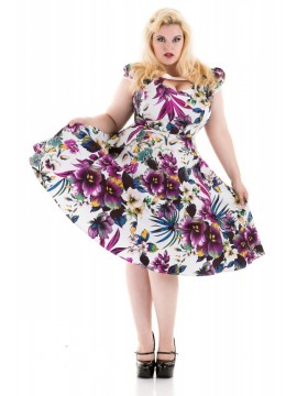 Vintage Plus Size White with Purple Pansies Floral Dress