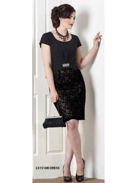 Special Occasion Dress with Black Embossed Skirt