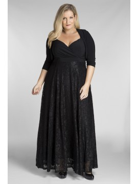 Bella Plus Size Maxi Dress in Black Lace with Jacket