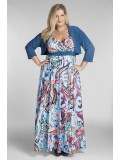 Bella Plus Size Maxi Dress in Blue Print with Jacket
