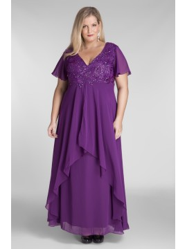 Full Length Chiffon Evening Dress with Beading in Violet