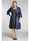 Special Occasion Sequin Lace Dress with Jacket in Navy