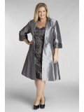 Special Occasion Sequin Lace Dress with Jacket in Charcoal