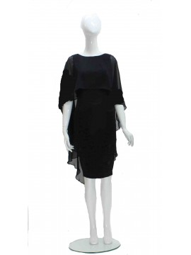 Lounge Black Dress with Chffion Overlay
