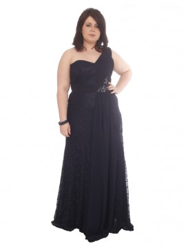 Lace and Chiffon Evening Dress in Navy
