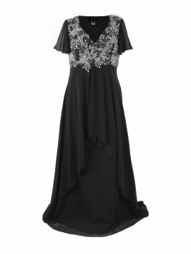 Full Length Chiffon Evening Dress with Beading in Black