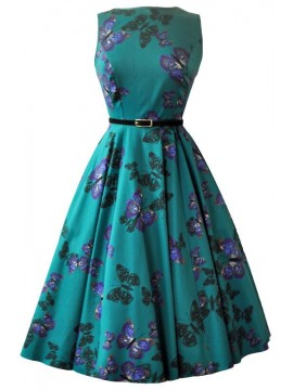 Vintage Hepburn Dress in Teal Butterfly