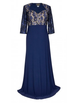 Sequin Lace and Jersey 3/4 Sleeve Evening Gown