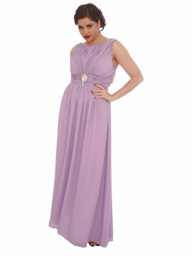 Elegant Chiffon Evening Dress in Lilac