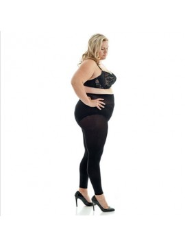 Plus Size Opaque 100 Denier Footless Tights in Black