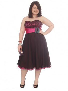 Pink & Black Knee Length Chiffon, Lace and Satin Evening Dress